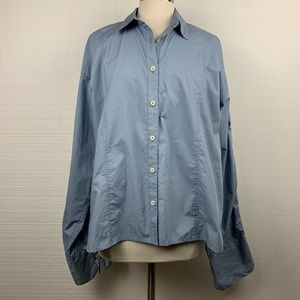 Free People Blue Button Front Long Sleeve Shirt